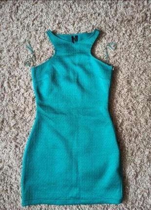Платье сарафан из фактурной ткани бирюзовое