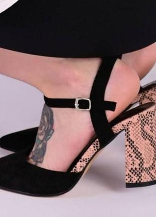 Стильные,трендовые туфли-лодочки с змеиным принтом.босоножки