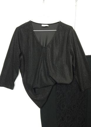 Черная блестящая кофточка джемпер с люрексом кофтинка із блиском блуза kaffe