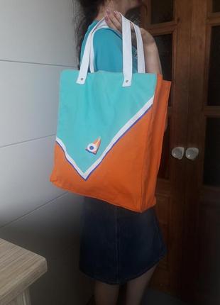 Фирменный шопер хлопковый двусторонний летняя эко сумка lancaster франция