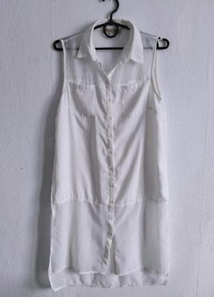 Удлиненная шифоновая блуза