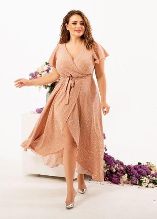 Платье летнее на запах батал миди3 фото