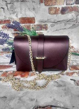Маленькая кожаная сумочка клатч на цепочке фиолетовая тёмная перламутровая италия2 фото