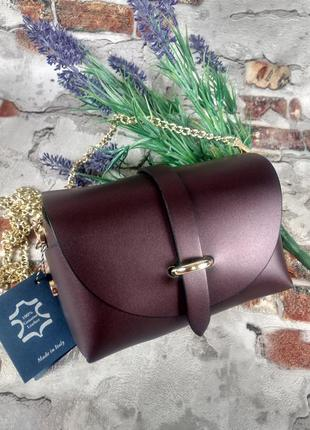 Маленькая кожаная сумочка клатч на цепочке фиолетовая тёмная перламутровая италия3 фото