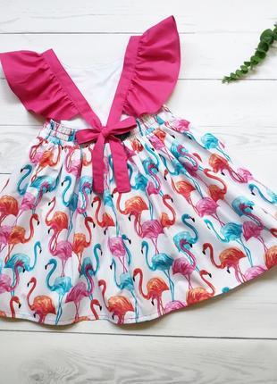 Сарафан с фламинго, платье хлопок