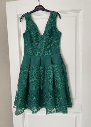 Зелёное нарядное  платье с v образным вырезом ,размер s/m
