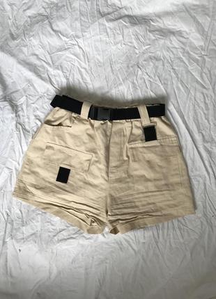 Шорти кольору кемел в стилі сафарі   шорты