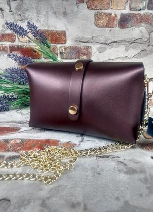 Маленькая кожаная сумочка клатч на цепочке фиолетовая тёмная перламутровая италия4 фото