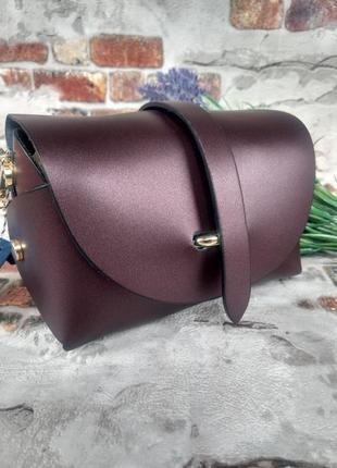 Маленькая кожаная сумочка клатч на цепочке фиолетовая тёмная перламутровая италия6 фото