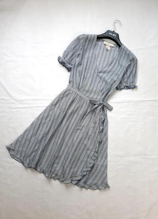 Милое летнее платье на запах в полоску , 34, xs,s