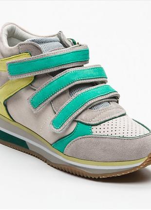 Новые кроссовки geox сникерсы на липучках яркие замша оригинал джеокс геокс