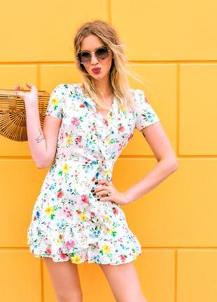 Mango платье с имитацией запаха в цветочный принт  s