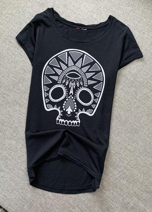 Чёрная футболка h&m хлопок