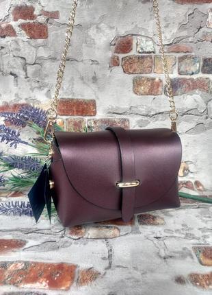 Маленькая кожаная сумочка клатч на цепочке фиолетовая тёмная перламутровая италия9 фото