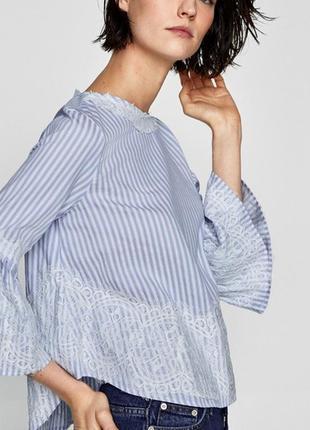 Красивая блуза/рубашка с кружевом и на лентах сзади zara