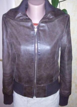 Крутая 100 % натуральная кожа/ куртка/ бомбер /жакет /пиджак /кожаная куртка
