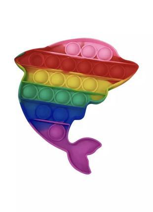 Мягкая силиконовая  игрушка поп пит поп ит пупырка антистресс дельфин pop pit 12 см