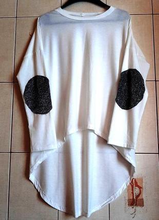 Белый ассиметричный хлопковый лонгслив
