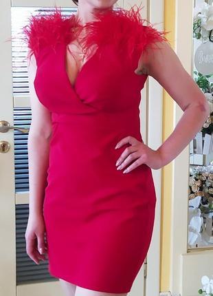 Коктейльне плаття/ платье с перьями