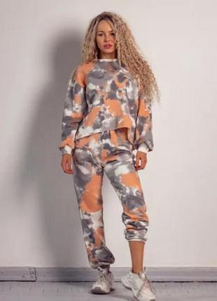 Спортивный женский комплект костюм двухнитка colored orange свитшот + джоггеры