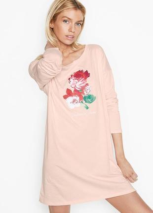 🎉распродажа 🇺🇸victoria's secret🇺🇸 домашняя футболка платье для отдыха и сна с длинным рукавом оригинал