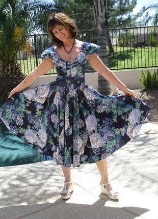 Винтажное платье karen alexander с цветочным принтом чайной длины