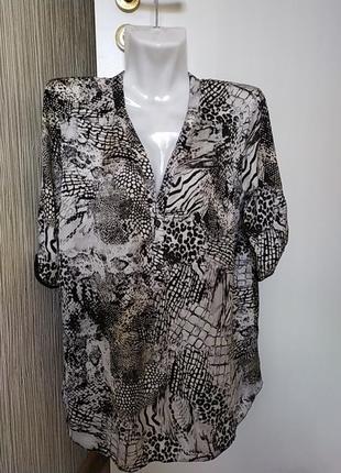 """Блуза с """"хищным """" принтом, m&co, 16"""