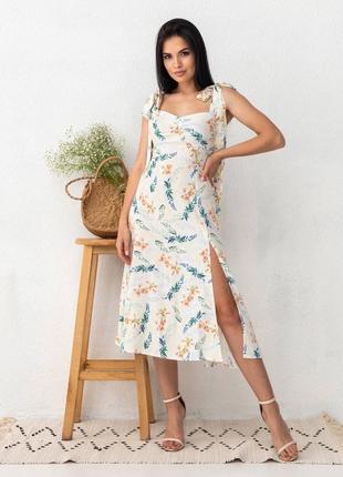 Сарафан в квітковий принт з тонкого льону, на зав'язках / сарафан летний на завязках с тонкого льна в цветочный принт
