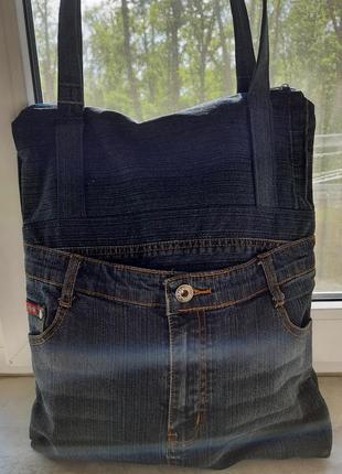Шоппер джинсовый экосумка летний синий оригинальный на молнии