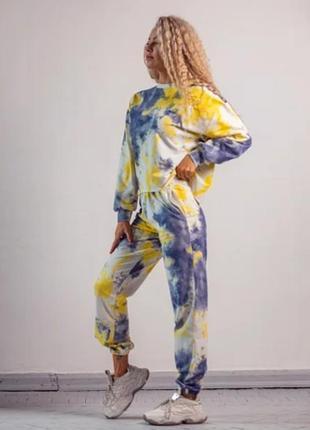 Спортивный женский комплект костюм двухнитка colored blue свитшот + джоггеры