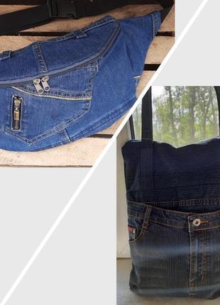 Комплект сумка и бананка джинс вместе дешевле летние синие ручная работа