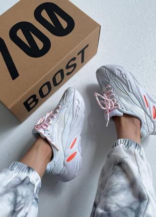 """Женские кроссовки демисезонные адидас белые adidas yeezy boost 700 v2 """"white / orange"""""""