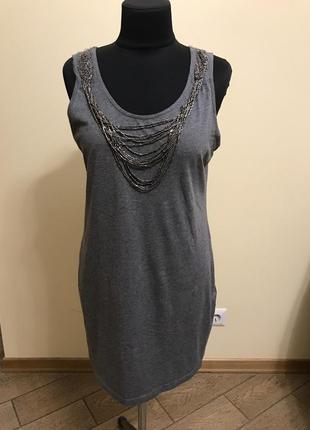 Короткое платье , туника из плотного хлопкового трикотажами
