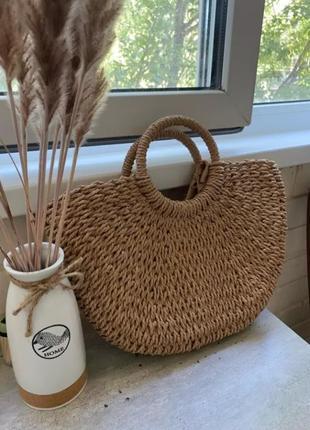 Летняя пляжная сумка бежевая плетеная