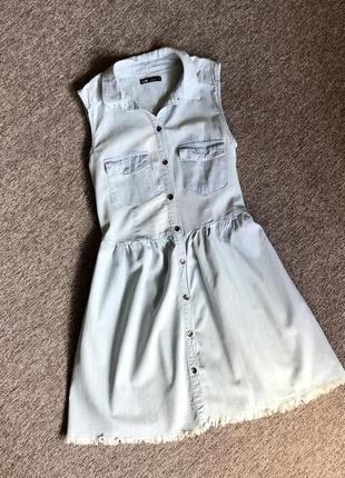Світлий джинсовий сарафан, коротке плаття oodji. светлый джинсовый сарафан, платье