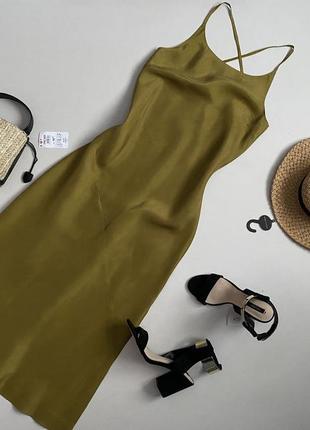 Роскошное шелковое платье комбинация миди 100% натуральный шелк