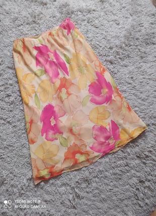 Шелковая юбка в цветочный принт, 40-42