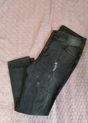 Джинси чорні з потертостями