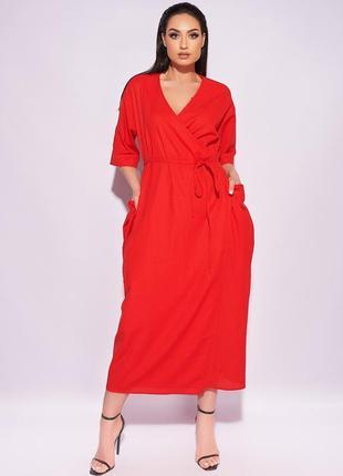 Стильное платье на запах, льняное миди, 50-641 фото