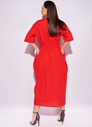 Стильное платье на запах, льняное миди, 50-642 фото