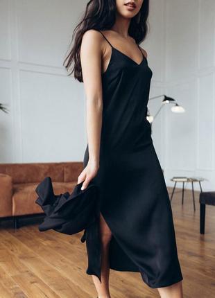 Платье сабрина длинное черное