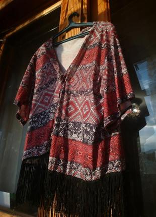 Кардиган(кимоно)с бахромой ,накидка пляжная,бохо стиль