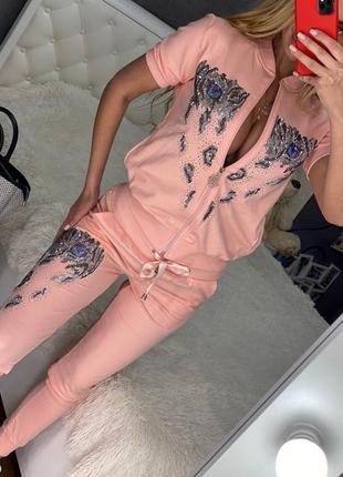 Женский брендовый костюм пудра ferri ferrucci