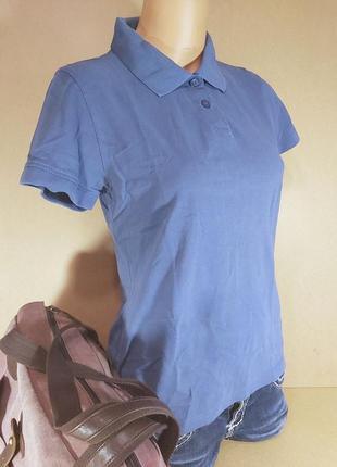 Поло женское engelbert strauss. голубое женское поло с коротким рукавом