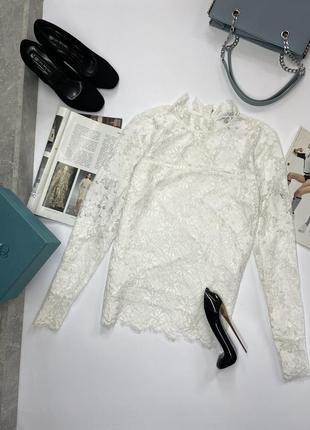 Летняя белая кружевная блуза h&m блузка из кружева oversize s m