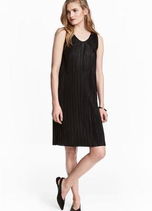 Новое чёрное прямое платье плиссе h&m блестящее платье миди лето