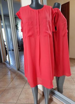 Стильное на подкладке с карманами платье 👗рубашка большого размера