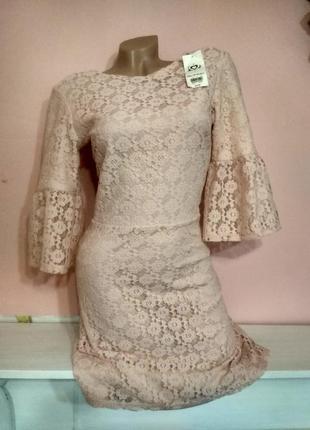 Сток с биркой нежно розовое платье с трендовым рукавом