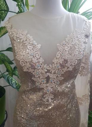 Платье рыбка вечернее нарядное выпускное свадебное в пайетках
