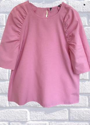 Розовая блуза рубашка с пышными рукавами primark 1+1=3